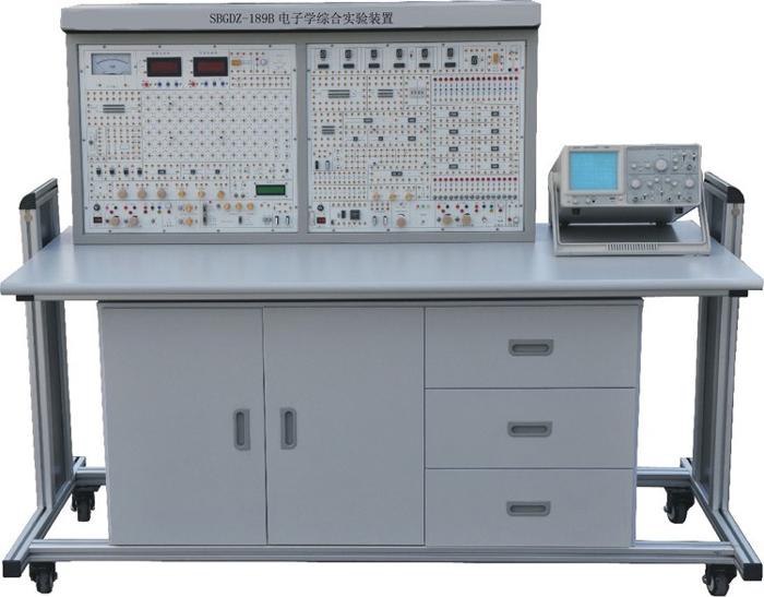 """SBGDZ-189B电子学综合实验装置 一、概 述 """"SBGDZ-189B型电子学综合实验装置""""是依据我国高校的""""模拟电子技术""""、""""数字电子技术""""、""""EDA技术及其应用""""实验教学大纲的要求,并考虑了各高等院校对该实验教学设备的需求和建议而研发的新一代实验装置。 本装置能满足上述课程的全部实验项目和课程设计的需要,完全符合实验教学大纲的要求,同时能为开发高层次的数字系统实验及教师、研究生和进行科学研究提供良好的实验条件。 本装置"""